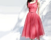 1950s Vintage Party Dress Coral Pink Prom Dress 50s Tea Length Shell Pink / M