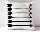 "Sharp Shooter - arrow pattern screen printed pillow, organic, 12""x12"""
