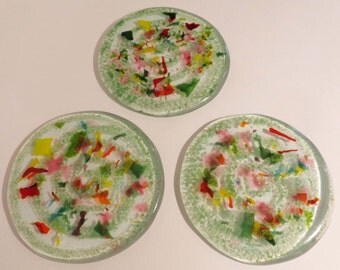 Colorful Recycled Glass Coasters - CUSTOM MADE ITEM