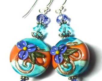 Bright Colorful Earrings Lampwork Earrings Vibrant Earrings Handmade Earrings Artisan Earrings Glass Earrings Beaded Earrings Funky Earrings