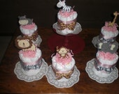 Judy only Safari Jungle Girl and Monkey Diaper Cakes Baby Shower Centerpieces other colors and sizes too