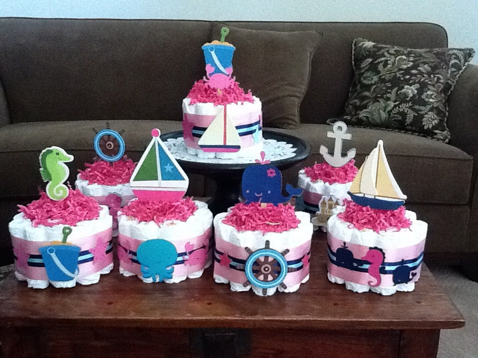 beach nautical girl sailing baby shower by bearbottomdiapercakes