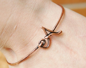 Initial Bracelet. Bangle. Oxidized Copper. Wire Jewelry.