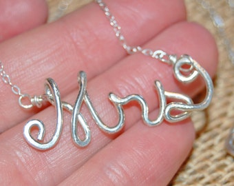 Mrs. Necklace. Sterling Silver. Delicate. Wire Jewelry.