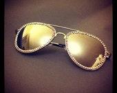 Marilynn Crystal Rhinestoned Sparkle Aviator Sunglasses