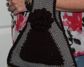 Vintage Remake Triangle Crocheted Purse/Bag in Gray and Black with Black Flower