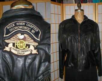 Vintage 80s Fringed black leather motorcycle Harley Davidson jacket womens size medium / large