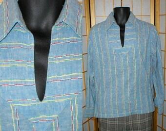 60s cotton  hippie shirt by Jerry Rothschild mens size medium