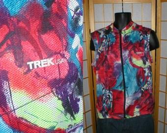 Vtg 80s Trek abstract modern print bike bicycling shirt size mens large