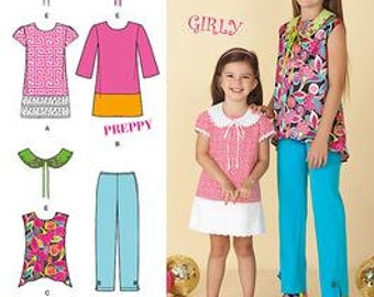 GIRL CLOTHES PATTERN / Make Dress - Tunic - Embellished Collar / Seude Preppy Design / Size 7 To 14