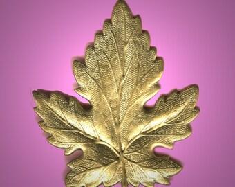 Vintage 2 Huge Brass Stamped Maple Leaf Finding 45x50mm GR7