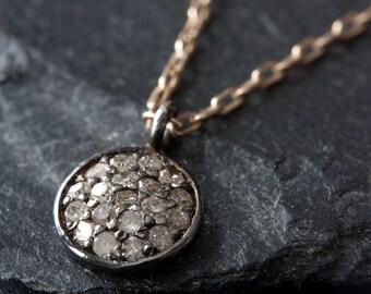 """Pavé Diamond Disc Necklace- As seen in """"Lucky"""" Magazine"""
