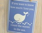 Baby nursery decor- whale wall art, beach, blue, inspirational, hearts 8x10 inch print