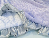 Lavender Gray and White Minky Baby Blanket Can Be Personalized