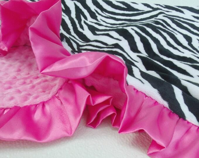 Pink Zebra Minky Blanket - Minky Baby Blanket Can Be Personalized