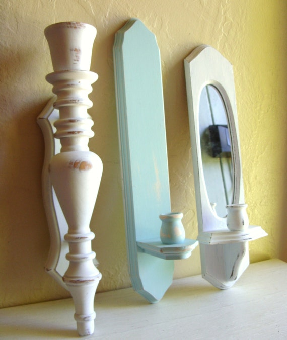 Candle Sconce Trio White and Turquoise Wood Wall Hanging Set