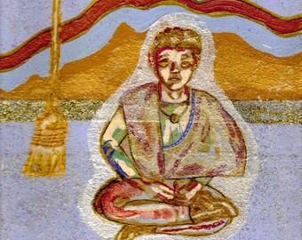 The Sorcerer Alchemist - Mystic Magician on Magical Purple Patterned Carpet - Art Print