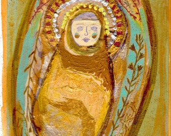 Saint Catherine - In Golden Aura Womb of Heavenly Home - Art Print