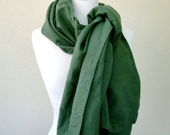 Very large linen shawl wrap scarf in olive green
