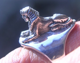Sterling Sllver Sphinx Egyptian Ring