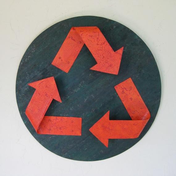 Metal Wall Art Recycle Symbol Indoor Outdoor Reclaimed Metal Wall Decor Orange Green 16 Inches
