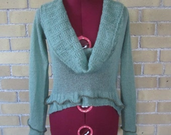 RESERVED - SOLD - Upcycled Serged Green Vintage Eco Sweater