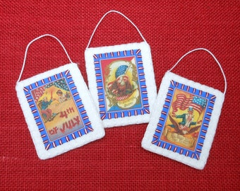 Patriotic July 4th Vintage Postcard Image Ornaments - Set of 3