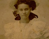Christy at 12 - Early 1900s Black and White Victorian Photograph in Oval Mat, Columbus, Georgia