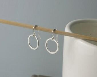 Circle Hoop Hammered Earrings.  Sterling Silver.