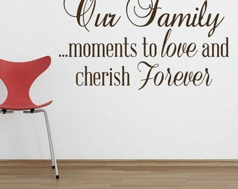 Our Family...moments to love and cherish Forever   quote VINYL DECAL 22x36 in.