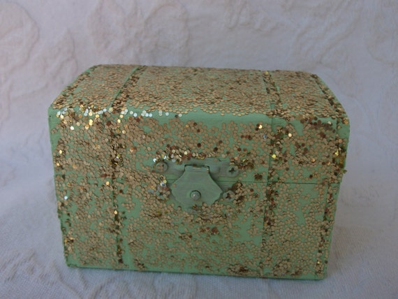 Mint Green Ring Box with Chunky Gold Glitter Wedding Ring Bearers Pillow Box Gift Box