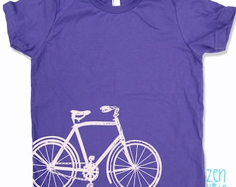 Kids Tee Vintage BICYCLE Shirt - eco screen printed Sizes(+Colors) FREE Shipping