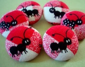 Ant Buttons - Marching Ants Fabric-covered Buttons - Summer Picnic Red White & Black Checkerboard Covered Buttons