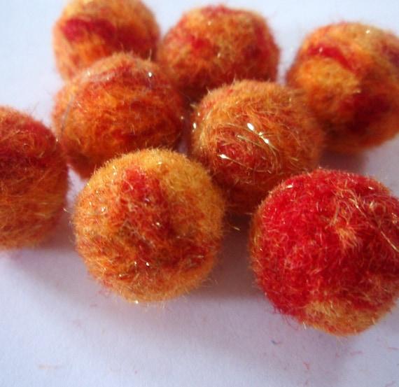Needle Felted Balls - Fireball Mix - Red Orange Yellow and Metallic Sparkling Gold Wool Beads - Felt Ball Beads