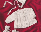 """PDF Knitting Pattern Baby Matinee Coat, Bonnet and Bootees sizes 17-18"""" Knitting Pattern (SW268)"""