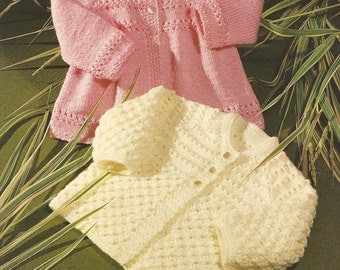 Vintage Babys Knitted Matinee Coats x 2 Knitting Pattern PDF (BRT61)