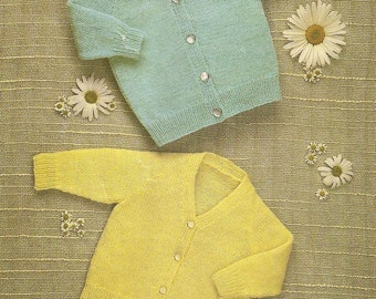 "PDF Vintage Knitting Pattern Baby Cardigans Sizes 18-26"" (Q226)"
