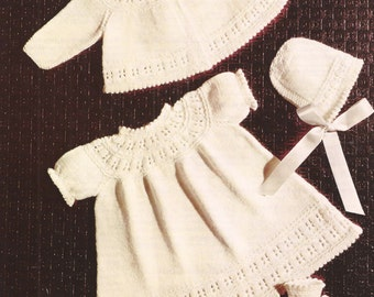 """PDF Knitting Pattern Baby Pram Set Coat, Dress and Bootees to fit size 18"""" (Co264)"""