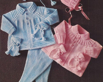 "PDF Vintage Knitting Pattern Baby Matinee Coat Set with Bonnet/Helmet, Mitts and Bootees 19-21"" (BM274)"