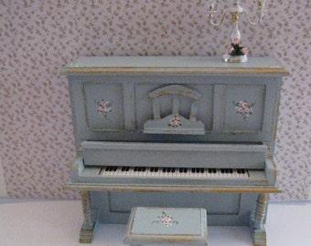 Dollshouse piano and stool, duck egg blue, dollhouse miniature, twelfth scale,