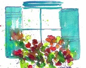 Window Box Watercolor Print
