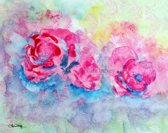 Pink Roses Laura Trevey Watercolor Art Print