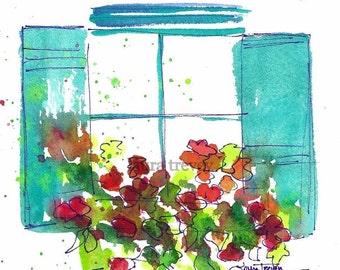 Window Box Watercolor Print