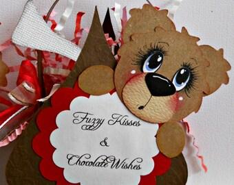 Elite4u Premade Handmade Scrapbook Paper Piecing Valentine Bear Treat Holder Set