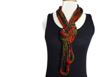 Crochet infinity scarf necklace - crochet necklace - lightweight cowl - autumn colors - infinity loop scarf - ready to ship