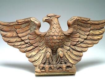 19th c. Hand Carved American Eagle FOLK ART fragment:  original paint, gilding, New England origin, American patriotic symbol