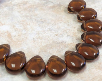 16x12mm Transparent Smoky Topaz Czech Glass Briolette/Teardrop Beads (BS291)
