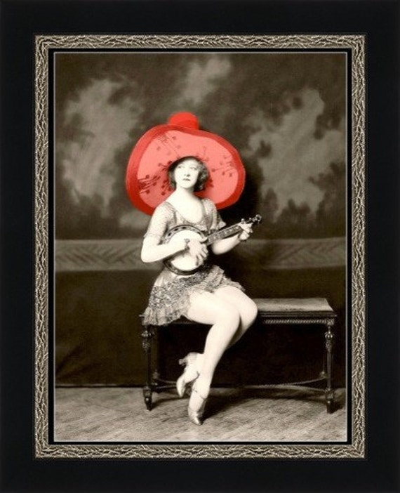 Girl in Red Sombrero with Banjo - Giclee Art Print