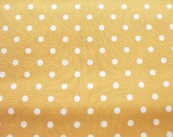 Kawaii Japanese Fabric - Pastel Color Polka Dots on Yellow Ocher - Fat Quarter (ko0805)