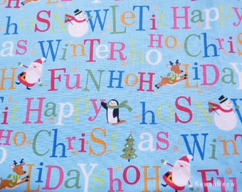 SALE Kawaii Japanese Fabric - Christmas Message Blue - Half Yard